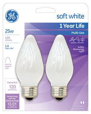 GE Lighting 75338 25 Watt Flame Tip Light Bulb 2 Count