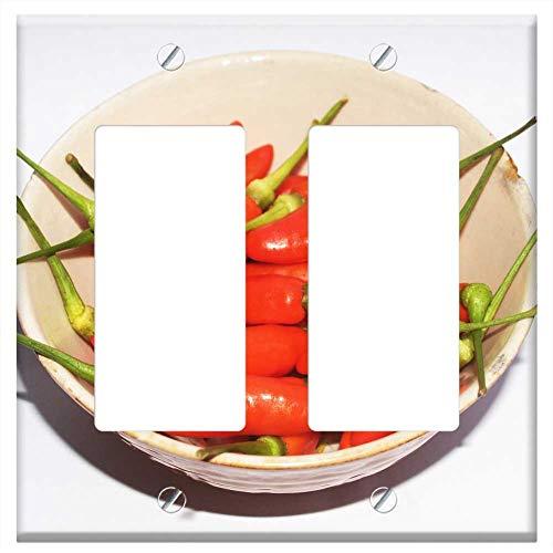 Switch Plate Double Rocker/GFCI - Chilli Pepper Red Hot Chili Paprika Green White 2]()