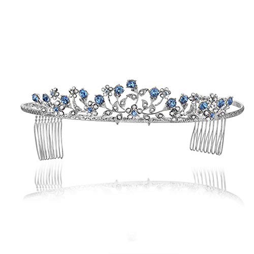 Floral Leaf Bridal Wedding Tiara Crown - Blue Crystals Silver Plating T662