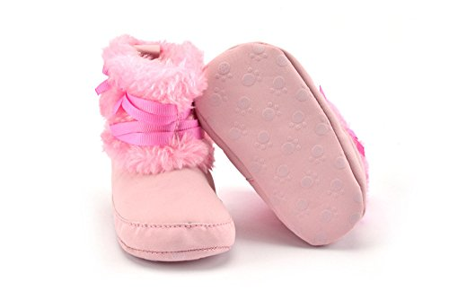 Cálido a-nam para bebé Aprendizaje Caminar Firstwalker zapatos botas, suave algodón hecho rosa rosa Talla:11 cm rosa