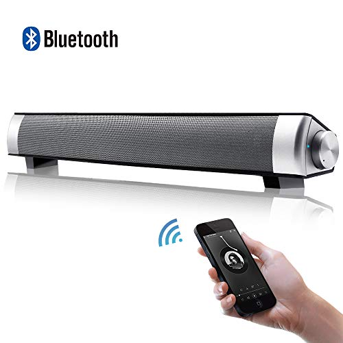 [New 2019 Upgraded] Flytop Bluetooth Sound Bar 3D Surround Speaker 15,7-Inch with Subwoofers Wired & Wireless Long-Standby for TV/PC/Phone/Tablet (Best Soundbar 2019 Under 500)