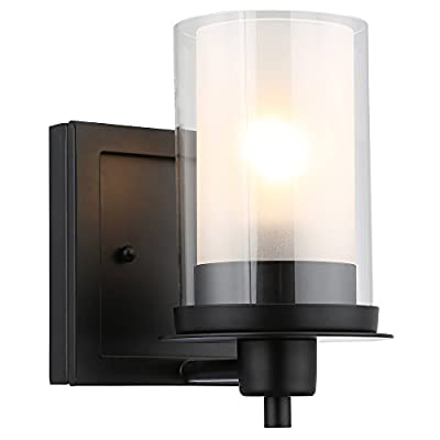 Designers Impressions Juno Matte Black 1 Light Wall Sconce / Bathroom Fixture with Clear and Frosted Glass: 73482