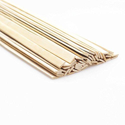 "DYWISHKEY Natural Bamboo Sticks, Wooden Craft Sticks, 15.5""Longth x 3/8″ width (50 Pcs)"