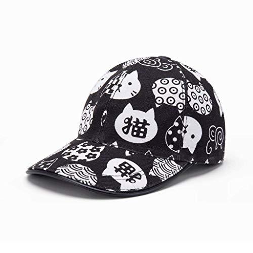 SLH 男性の猫の帽子黒と白の野球帽の換気の女性夏の鴨の舌の帽子サンスクリーンの帽子