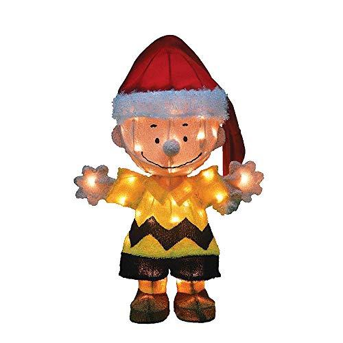 TisYourSeason ProductWorks 20-Inch Pre-Lit 3D Peanuts Santa Charlie Brown Christmas Yard Decoration, 50 Lights