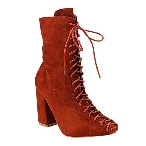 CAPE ROBBIN GD77 Women's Lace-Up Size Zipper Block Heel Ankle Booties, Color:RUST, Size:9