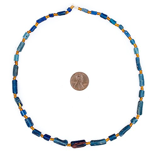 Rectangular - Blue Roman Glass Beads, 100% Authentic and Genuine Ancient Glass, Made in Afghanistan, Matte Glass Beads for Jewelry Making, The Bead (Rectangular Spacer Beads)