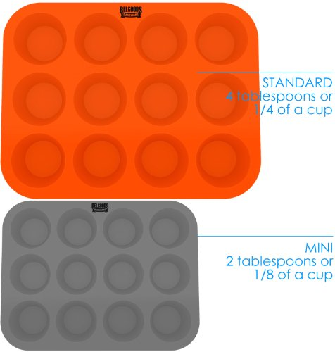 Silicone Muffin Cupcake Baking Pan Tray - Standard Size - 12 Cups - 100% Pure Food Grade Non-Stick Silicone - Orange - Bake Like a Professional by Belgoods Bakeware (Image #5)