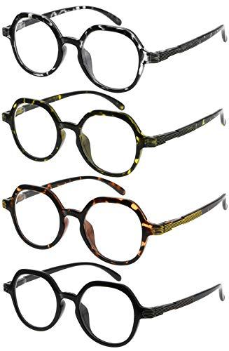 Eyekepper 4 Packing Retro Design Glasses for Women Reading - Vintage Reading Eyeglasses Small Lens Readers Men