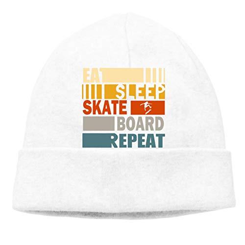 (GDSG5&4 Eat Sleep Skateboard Repeat Men Women Thick Running Beanie Hat)
