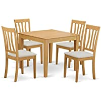 East West Furniture OXAN5-OAK-C 5 Piece Table and 4 Dinette Chair Set