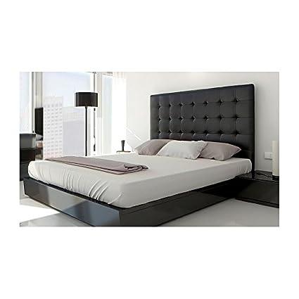 Cabecero de cama puntadas 160 cm simil piel negro: Amazon.es: Hogar