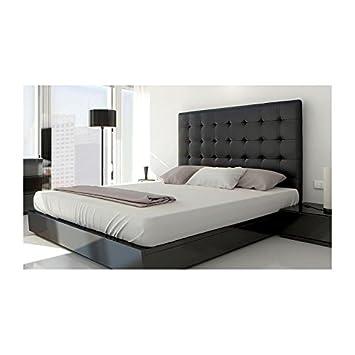 cabecero de cama acolchado unbspcm piel color negro