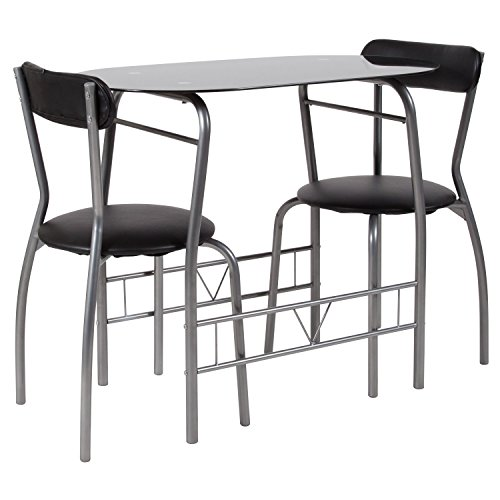 - Flash Furniture Sutton 3 Piece Space-Saver Bistro Set with Black Glass Top Table and Black Vinyl Padded Chairs