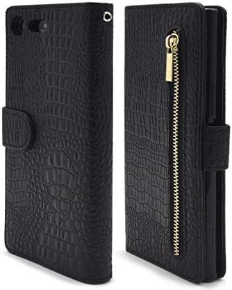 PLATA Xperia XZ Premium SO-04J ケース 手帳型 クロコダイル レザー スタンド ポーチ カバー サイド ポケット付 【 ブラック 黒 black 】 DSO04J-52ABK