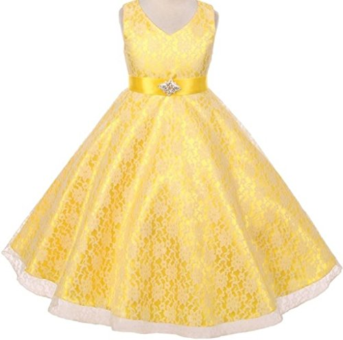 Price comparison product image Big Girls' V Neck Lave Over Shiny Satin Special Flowers Girls Dresses Yellow 8