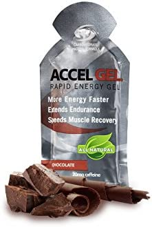 PacificHealth Accel Gel, All Natural Protein-Powered Rapid Energy Gel for Instant Energy During Intense Workouts – Box of 24, 1.3 Ounce Packets Chocolate w 20mg Caffeine