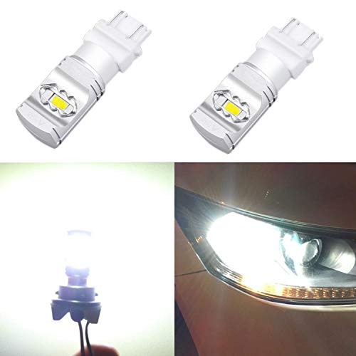 (Alla Lighting 3800lm T25 3156 3157 White LED Bulbs Xtreme Super Bright 3056 3057 3457 3157 LED Bulb ETI 56-SMD 6000K Xenon LED 3157 Bulb for Turn Signal Back-Up Reverse DRL Brake Stop Tail Light (2pc))