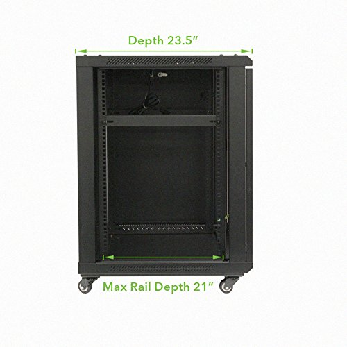 NavePoint 15U Wall Mount Audio Video A/V Rack Cabinet Glass Door Lock Casters and Shelves