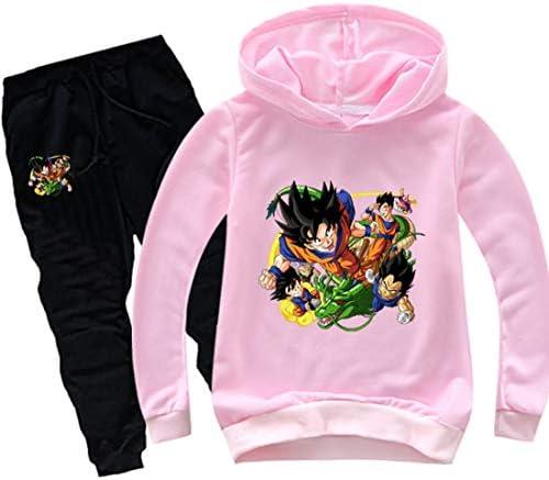 PANOZON Boys Sets Dragon Ball Character Printed Pullover Cool Long Sleeve Suits