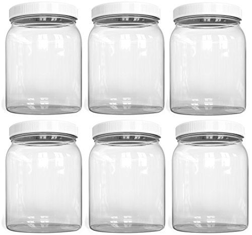 0.5 Gallon Beverage - ½ Half Gallon Plastic Jars, Wide Mouth Jar, Clear, with Airtight Lined Fresh Seal Lid, Shatter-Proof Container Food Storage Safe PET 1 BPA Free 2 Quart 64 oz Canning, Great for Storing Snacks (6)