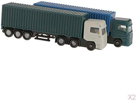 コンテナトラックモデル 建物風景 コンテナトラック 1:150スケール塗装モデル 2個セット
