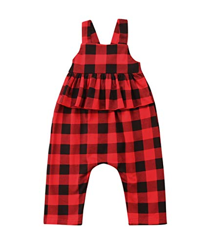 Toddler Kids Baby Girl Stripes Bell-Bottom Jumpsuit Romper Overalls Pants Outfits (Red, 3-4T)
