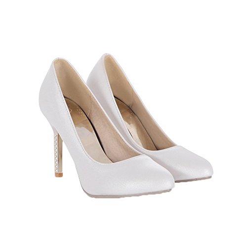 Cuir Mélangées à Légeres Femme Chaussures Blanc VogueZone009 Haut Talon Tire Couleurs PU Pointu wgaXFqn1