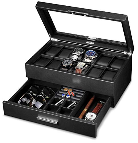 Lifomenz Co Leather Watch Box with Drawer Adjustable Tray for Men Watch Jewelry Box Organizer,Watch Display Case Catchall Tray for Men Accessories Organizer,Watch Storage with Large Watch Holder from Lifomenz Co
