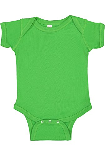Rabbit Skins Infant 100% Cotton Baby Rib Lap Shoulder Short Sleeve Bodysuit (Apple, Newborn)