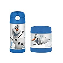 Frozen's Olaf 12 Ounce Stainless Steel Thermos Funtainer Straw Bottle and Food Jar Set