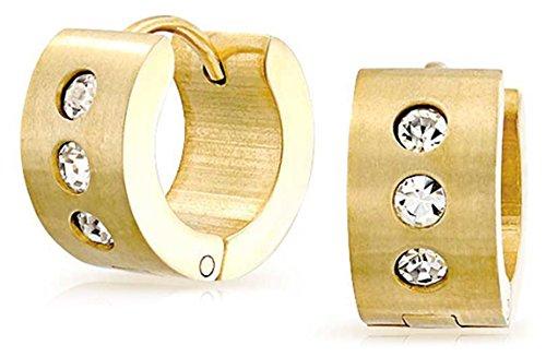 (Wide 1 Row Cubic Zirconia CZ Huggie Hoop Kpop Earrings For Men For Women Gold Plated Stainless Steel)