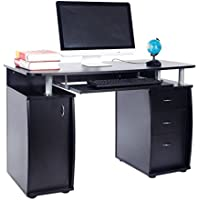 FCH Econ Multipurpose Home Office Desk Computer Writing Desk with Keyboard Tray and 1 Cabinet 3 Drawers 45.27L x 21.65W x 29.13H
