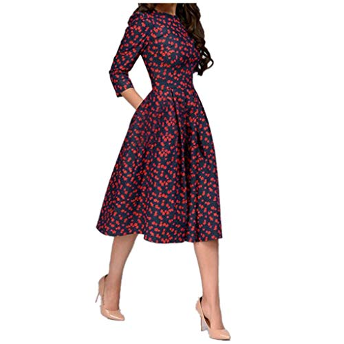 Cenglings Women Elegant 3/4 Sleeve Floral Print A-line Vintage Printing Party Vestidos Dress High Waist Flare Gown Midi Dress Navy