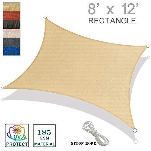SUNNY GUARD 8' x 12' Sand Rectangle Sun Shade Sail