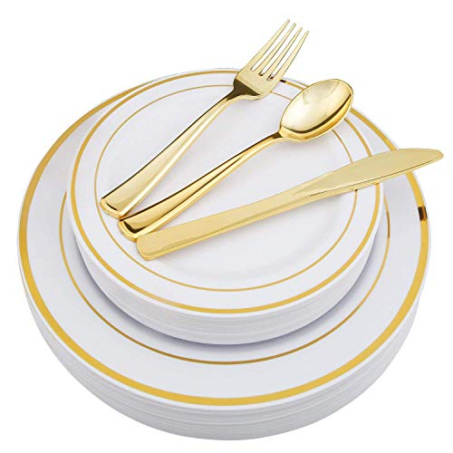 25 Guest Disposable Gold Party Dinnerware Set | Heavy Duty Plastic Plates & Silverware | Wedding Tableware set includes 50 Forks, 25 Spoons, 25 Knives, 25 Dinner Plates, 25 Dessert Plates (150 pieces)