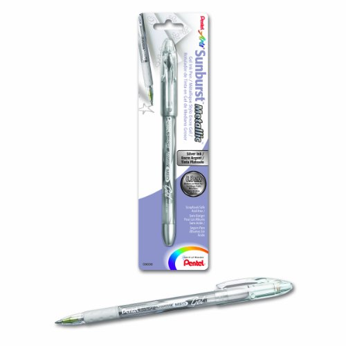 (Pentel Arts Sunburst Metallic Gel Pen, Medium Line, Silver Ink (K908BPZ))