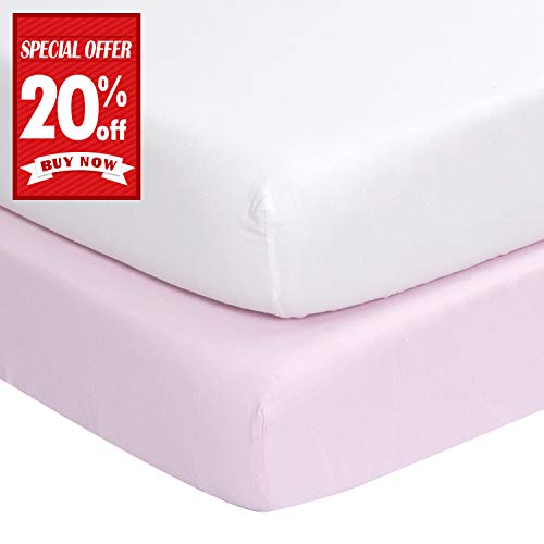 Summer New - Designthology (U.S.) Fitted Crib Sheet for Girls, 100% Cotton Muslin Crib Sheet for Standard Crib & Toddler Mattresses, 2 PCS White & Pink, Super Soft & Breathable, Tailored Snug Fit