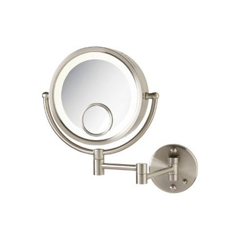 Jerdon HL8515N 8.5-Inch Lighted Wall Mount Makeup Mirror with 7x and 15x Magnification, Nickel Finish by Jerdon