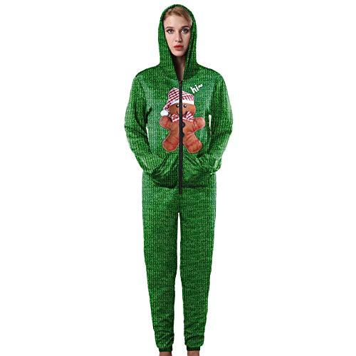 (Women Christmas Santa Claus Snowman Print Sweatshirt Jumpsuit Playsuit One-Piece (XL, B))