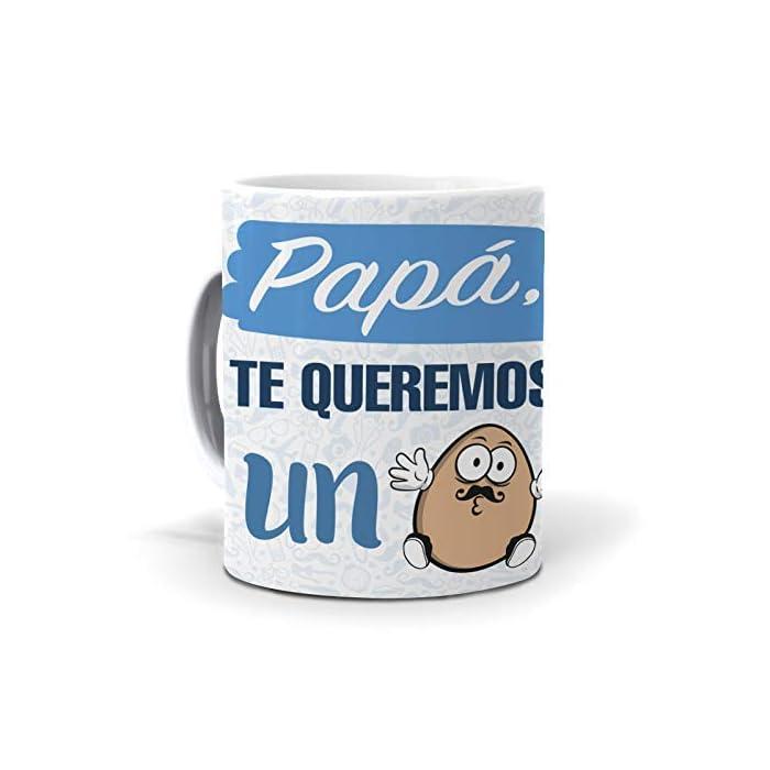 413QYzmyrCL Taza papá te queremos un huevo Taza cerámica de primera calidad 80 x 95 mm.