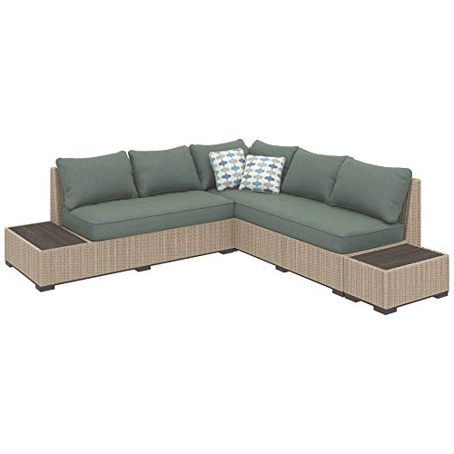 Ashley Furniture Signature Design - Silent Brook 3-Piece Outdoor Seating Set - Sofa, Loveseat Sectional & 2 End Tables - Beige & Blue (Outdoor Screened Porch Heaters)