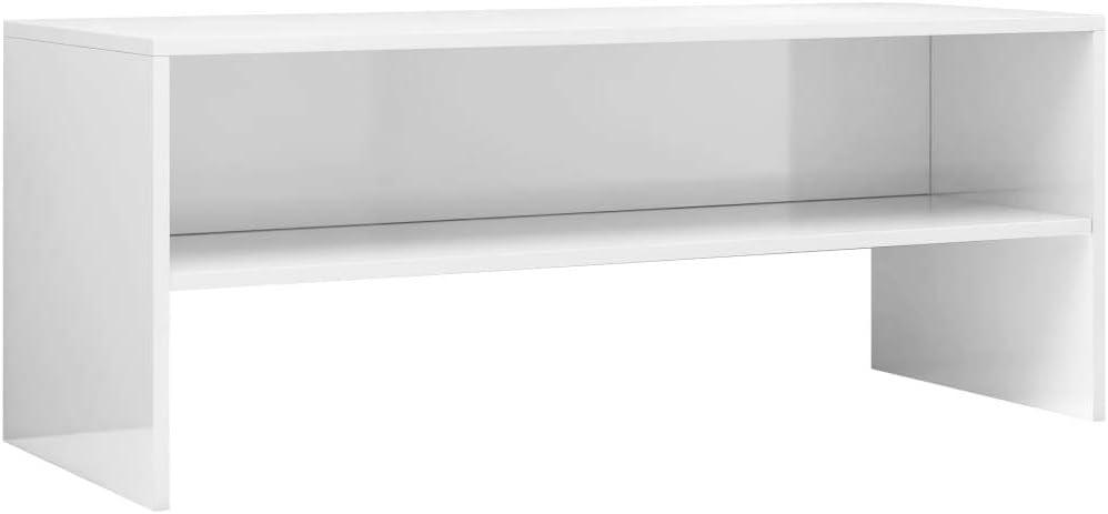 vidaXL Mueble TV Estante Mesa Baja Televisión Aparador Televisor Módulo Diseño Simple Compartimento Salón Habitación Comedor Aglomerado Blanco Brillo