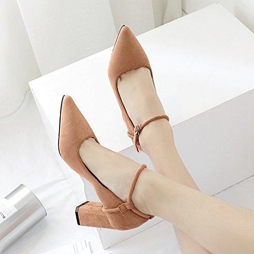 con tacco scarpe scarpe satinato ad singolo tacchi kaki con punta di ugello scarpe singola piede Alta una punta luce bold coppia 39 i alti anello ZX50xfnqw