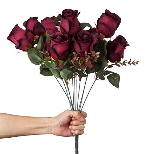 VILIVIT 21in.H Artificial Rose Silk Flowers - 11 Heads Leaf Rose Floral for Home Wedding Décor - Faux Black Red Rose Bouquet