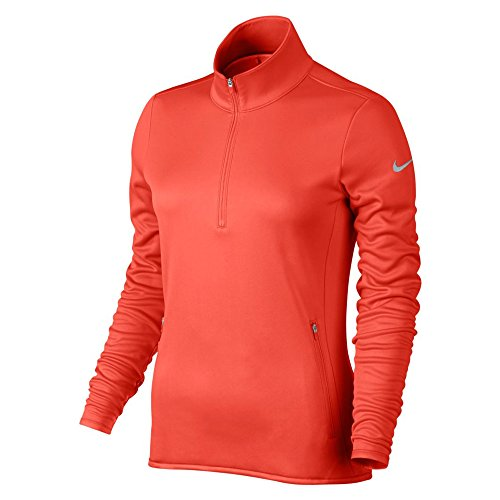 NIKE Women's Thermal Half-Zip Golf Top, Max Orange/Max Orange/Wolf Grey, X-Large