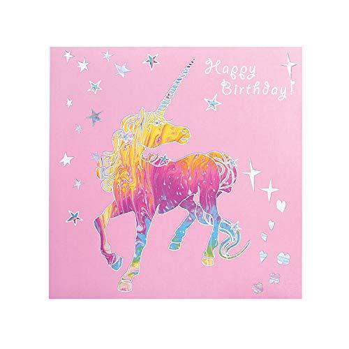 Deckled Edge Prancing Myth Greetings Card (One Size) (Happy Birthday - Unicorn (Pink/Rainbow/Silver))