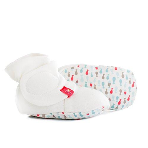 (Baby Booties, Adjustable, Soft & Secure (School of Fish/Aqua, 0-3 Months))