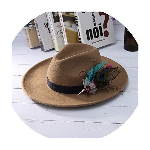 - Vintage Women Jazz Cap Fedora Hat Solid Color Wide Brim Cowboy Hat Elegant Feather Decor 100% Wool Felt Hat,tan,57 cm