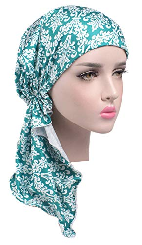 - Chemo Cancer Head Scarf Hat Cap Ethnic Printed Pre-Tied Hair Cover Wrap Turban Headwear (Dark Green/White Floral)